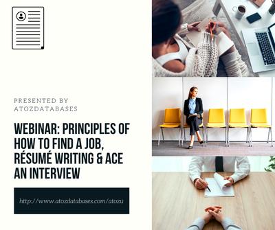 Webinar: Principles of How to Find a Job, Résumé Writing & Ace an Interview
